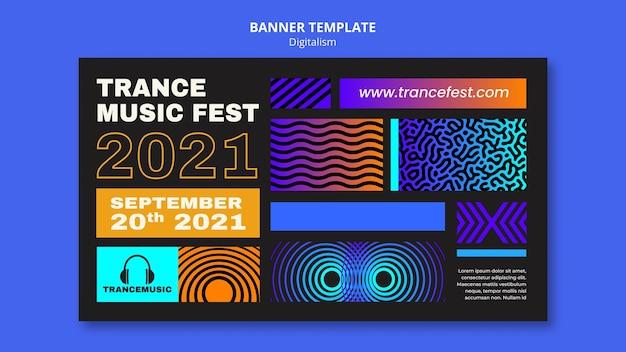 Horizontale bannersjabloon voor trance-muziekfestival 2021