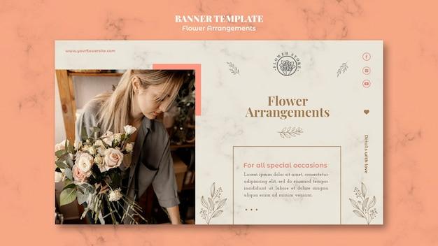 Horizontale bannersjabloon voor winkel met bloemstukken