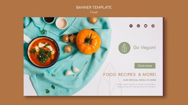 Horizontale bannr-sjabloon voor veganistisch eten