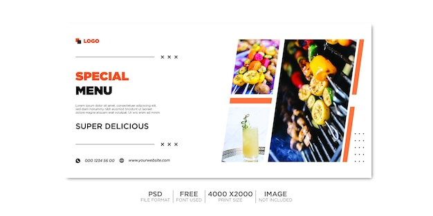 Horizontale drank verkoop banner sociale media sjabloon.