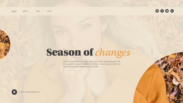 Horizontale herfst seizoen websjabloon met mooie vrouw