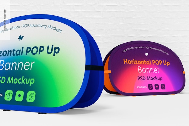 Horizontale pop-up banners mockup, close-up