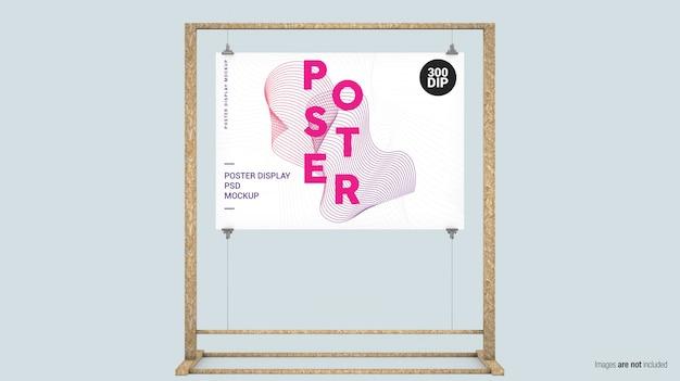 Horizontale posterweergave met touwen en houten frame