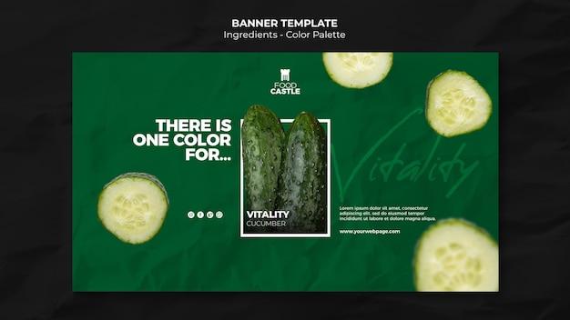 Horizontale sjabloon voor spandoek met komkommer