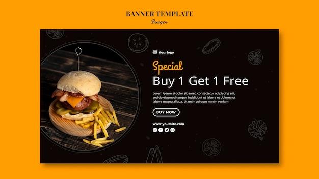 Horizontale sjabloon voor spandoek voor hamburgerbistro