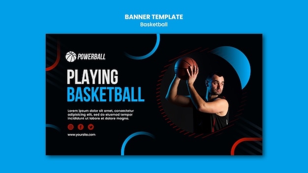 Horizontale sjabloon voor spandoek voor het spelen van basketbalspel
