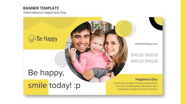 Horizontale sjabloon voor spandoek voor internationale dag van geluk