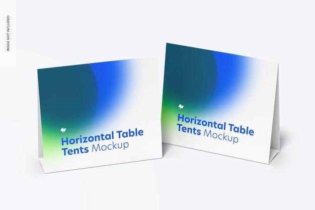 Horizontale tafeltentkaart met potplantmodel Premium Psd