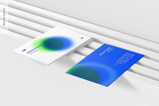 Horizontale visitekaartjes mockup, perspectiefweergave
