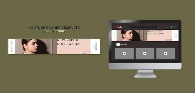 Horizontale youtube-banner voor minimalistische online modewinkel