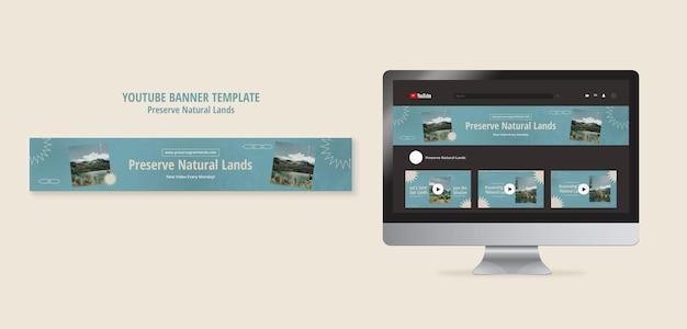 Horizontale youtube-banner voor natuurbehoud met landschap