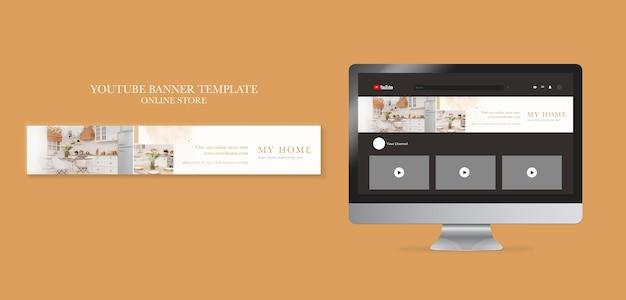 Horizontale youtube-banner voor online winkel voor meubelen