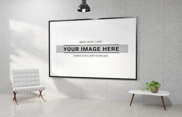 Horizotal witte frame opknoping in moderne interieur mockup