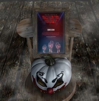 Horror nacht voor halloween met clown pompoen