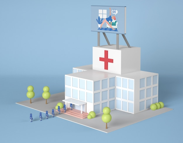 Hospital con cartelera y robots.