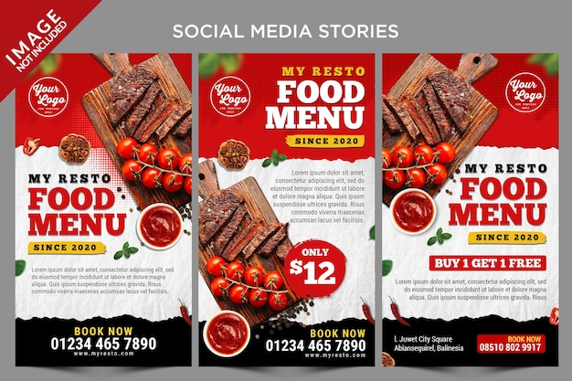 Hot item menu social media verhalen sjabloon