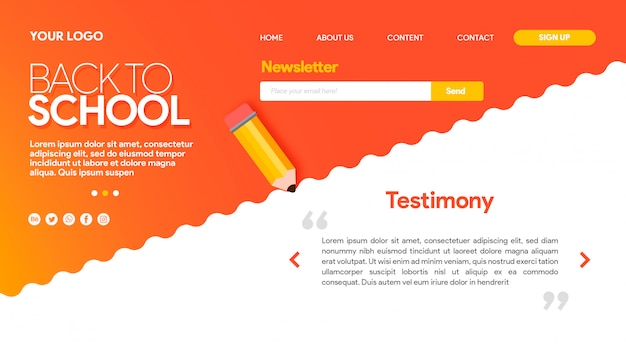 Hot landing page back to school with pencil and waves