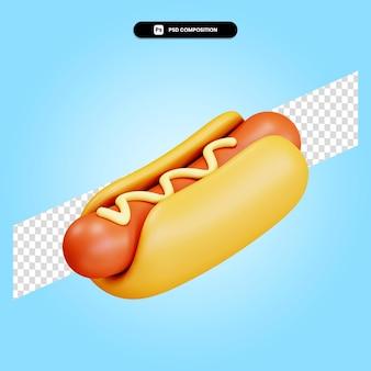 Hotdog 3d render illustratie geïsoleerd