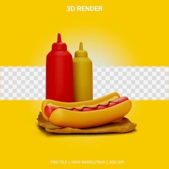 Hotdog en sauzen model met transparante achtergrond in 3d-ontwerp