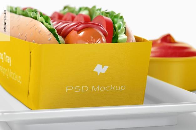 Hotdog-lade verpakking mockup, close-up