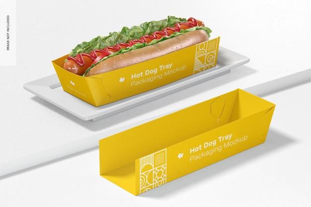 Hotdog-lade verpakking mockup, perspectief