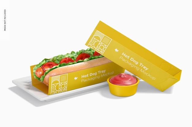 Hotdog lade verpakking mockup, vooraanzicht