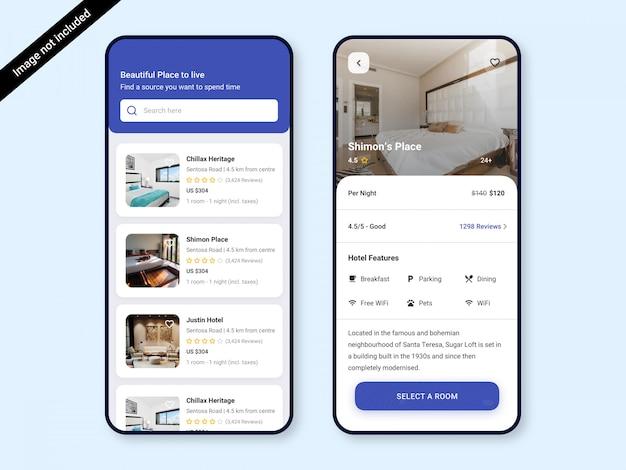 Hotel boeking app ui ontwerpsjabloon