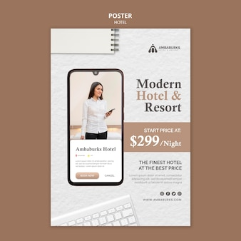 Hotel sjabloonontwerp posterontwerp
