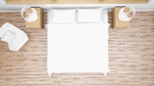 Hotelkamer of slaapkamer met tweepersoonsbed, bovenaanzicht