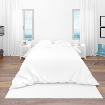 Hotelkamer of slaapkamer met tweepersoonsbed en uitzicht op zee