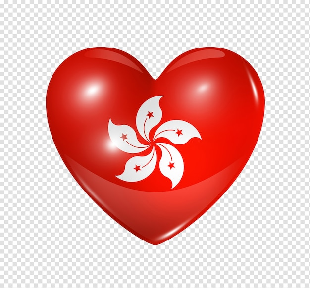 Hou van hong kong symbool 3d hart vlagpictogram