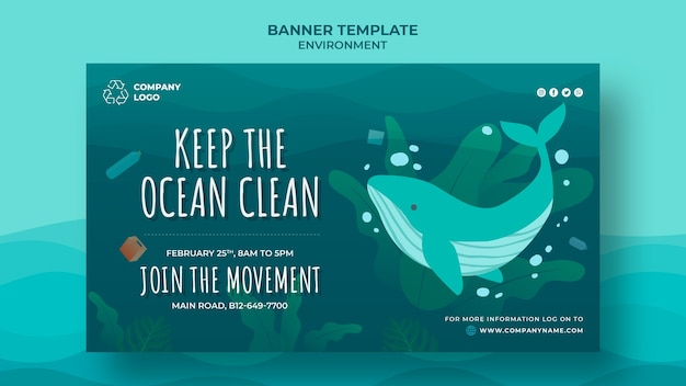 Houd de oceaan schoon banner sjabloon met walvis