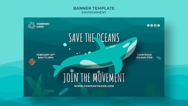Houd de oceaan schoon banner sjabloon