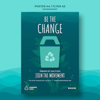 Houd de oceaan schoon poster sjabloon met recycling teken