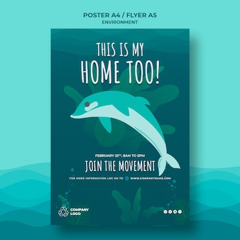 Houd de oceaan schoon postersjabloon met dolfijn