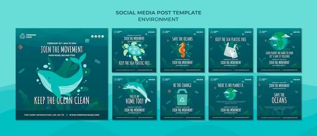 Houd de oceaan schoon social media postsjabloon