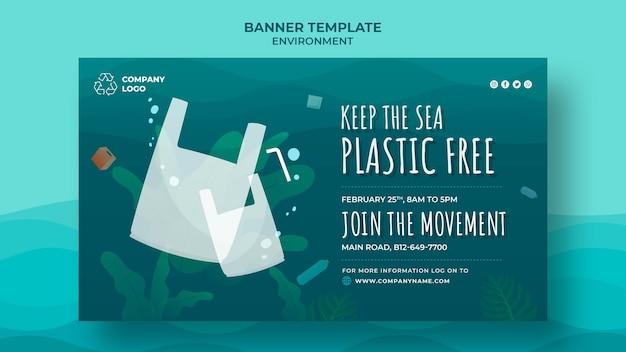 Houd de zee plastic gratis banner