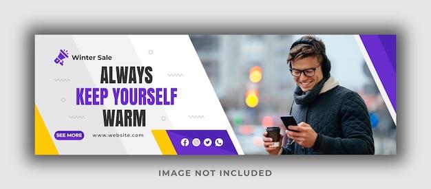 Houd jezelf altijd warm op facebook-omslagsjabloon