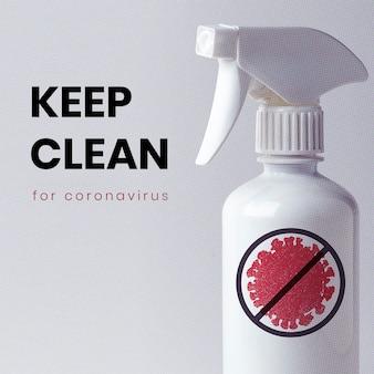 Houd schoon voor mockup van sociale sjablonen voor coronavirus