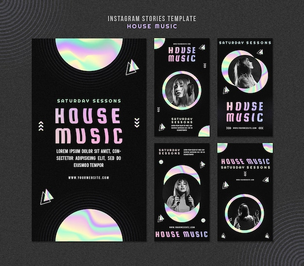 House muziek instagram verhalen sjabloon