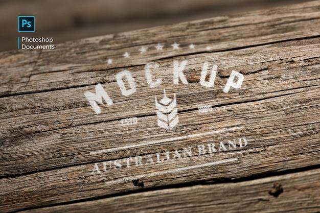 Hout gedrukt logo mockup ontwerpsjabloon