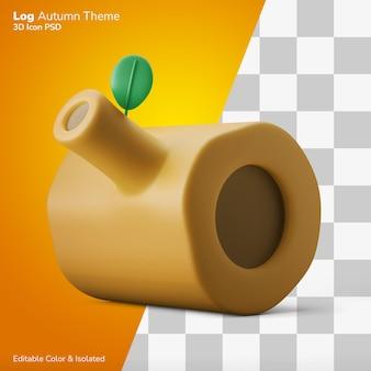 Hout log boomstronk 3d illustratie weergave 3d pictogram bewerkbaar geïsoleerd
