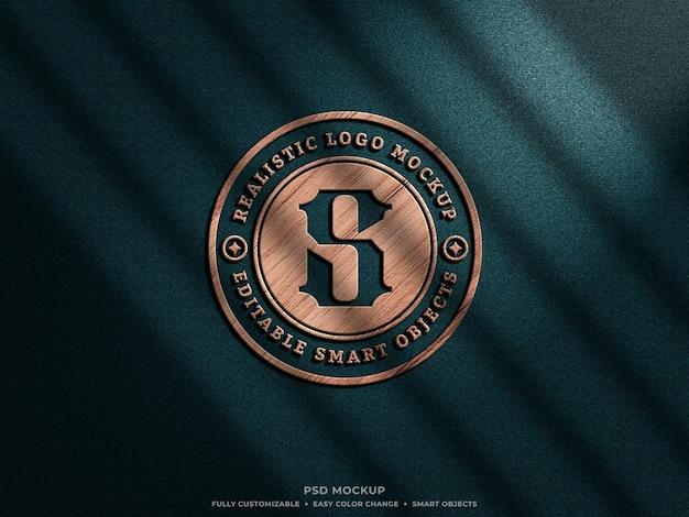 Houten 3d-realistische logo mockup op de muur