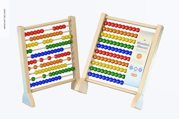 Houten abacus mockup, drijvend