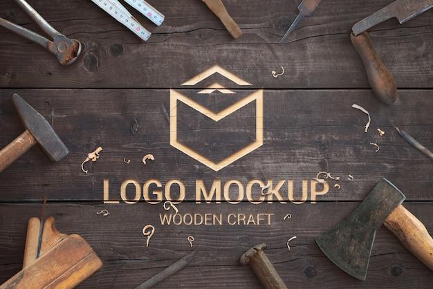 Houten ambachtelijke logo mockup plat leggen scène-maker