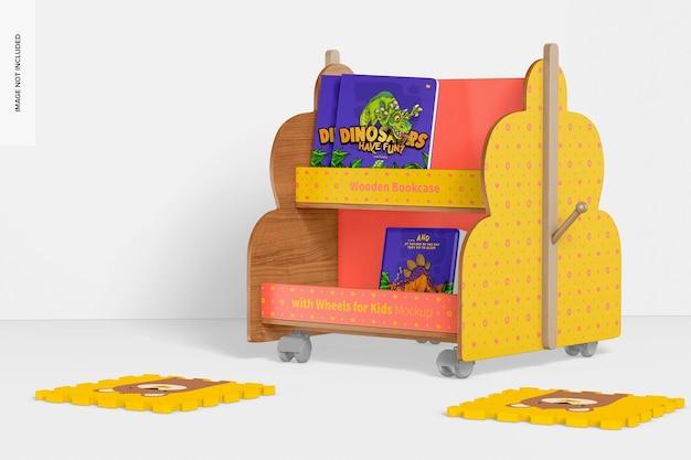 Houten boekenkast met wielen voor kindermodel, rechts aanzicht