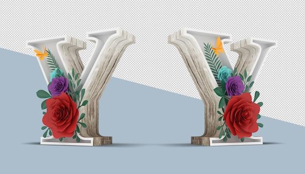 Houten brief met kleurrijke bloemdecoratie