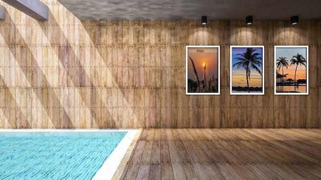 Houten en zwembad