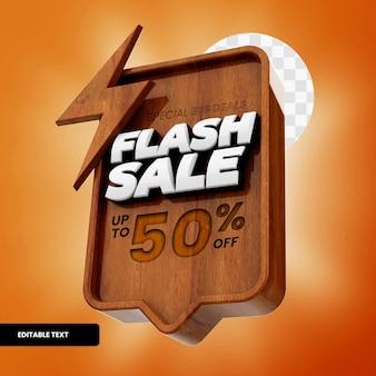 Houten flash-verkoop tekstvak met korting in 3d-rendering