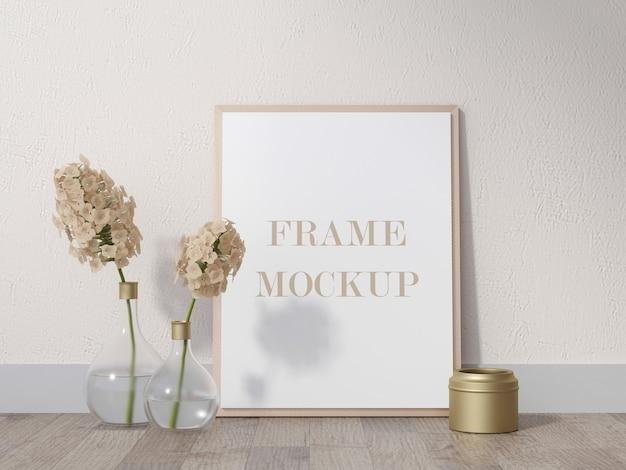 Houten fotolijst die tegen de muur leunt naast bloemen 3d-rendering mockup